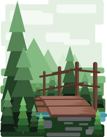 Abstract landscape design with green trees and clouds, a wooden bridge in the forest and a lake, flat style. Digital vector image. Illustration