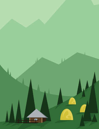 yellow hills: Abstract landscape design with green trees and hills, brown house in the mountains and yellow hay, flat style. Digital vector image.