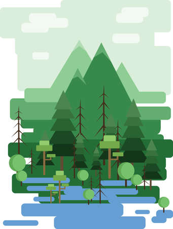 sheep road sign: Abstract landscape design with green trees and clouds, a forest and a lake, flat style. Digital vector image.