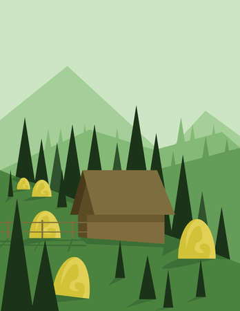 sheep road sign: Abstract landscape design with green trees and hills, a brown house in the mountains and yellow hay, flat style. Digital vector image.
