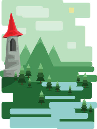 sheep road sign: Abstract landscape design with green trees and clouds, a castle in the mountains and a lake, flat style. Digital vector image.