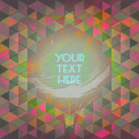 your text here: Abstract dark red and green design with your text here and colored triangles. Digital vector image