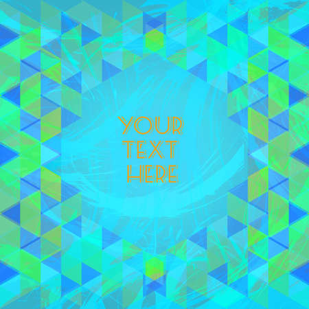 Abstract green and blue design with your text here and colored triangles. Digital vector image