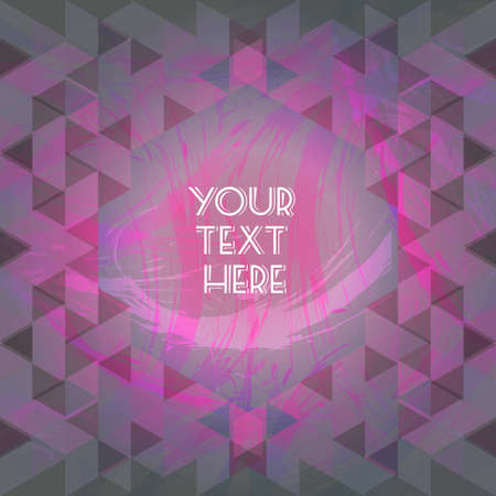 your text here: Abstract purple design with your text here and colored triangles. Digital vector image