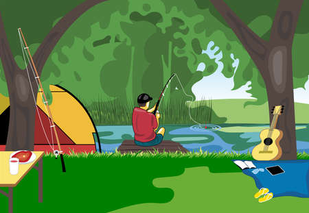 family holiday: Camping day celebration, river fishing with a tent in the middle of wild nature. Digital vector image
