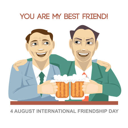 best: Happy friendship day card. 4 August. Best friends man drinking bear and shaking glasses. Digital vector image Illustration