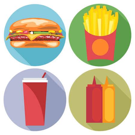 coke: Food and drink set flat style. Burger, coke, chips, ketchup and mayonnaise. Digital vector image Illustration