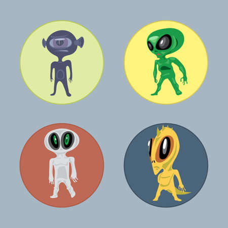 the centaur: Alien creatures and monsters set flat style. Digital vector image
