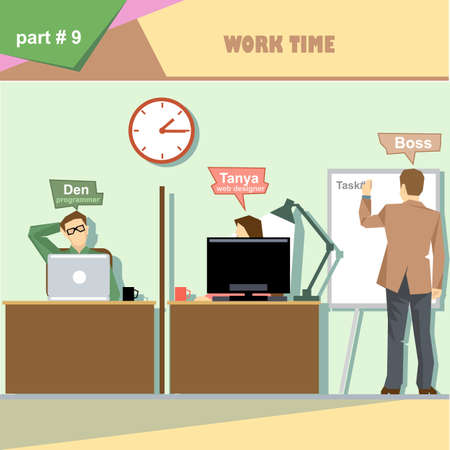 business roles: Business company roles situation infographics with boss making a presentation at the white board for programmer and web designer at work. Digital vector image