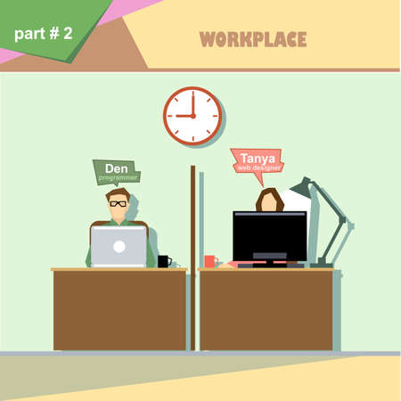 business roles: Business company roles situation infographics with web designer and programmer at their workplace. Digital vector image