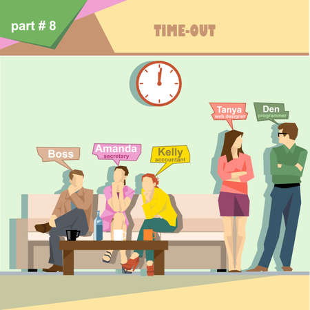 business roles: Business company roles situation infographics with boss, secretary, accountant, programmer and web designer having a break at work. Digital vector image Illustration
