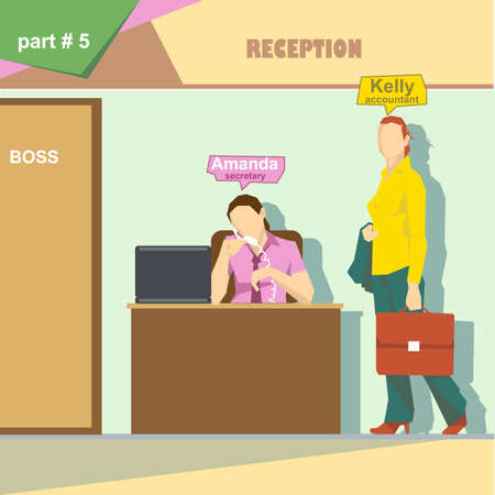 business roles: Business company roles situation infographics with accountant and secretary talking on the phone at work. Digital vector image Illustration