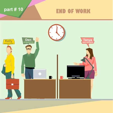 business roles: Business company roles situation infographics with accountant, programmer and web designer at the end of the day at work. Digital vector image