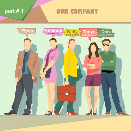 roles: Business company roles situation infographics with boss, secretary, accountant, web designer and programmer. Digital vector image