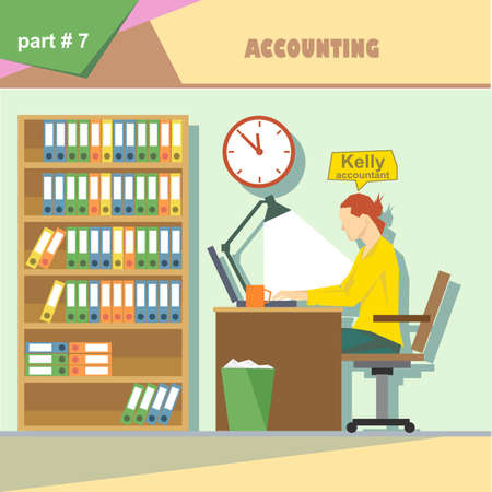 roles: Business company roles situation infographics with accountant at work. Digital vector image