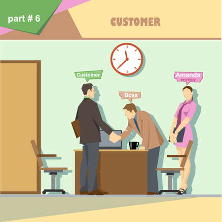 roles: Business company roles situation infographics with boss, secretary and customer shaking hands at work. Digital vector image