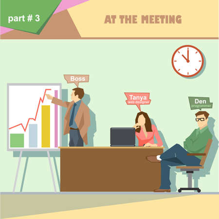 business roles: Business company roles situation infographics with boss, web designer and programmer in a meeting at work. Digital vector image