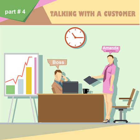 business roles: Business company roles situation infographics with boss and talking with a customer and secretary at work. Digital vector image