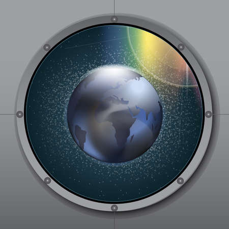 View from rocket or ship porthole on planet earth in space over a background with glowing stars. Digital vector image Illustration