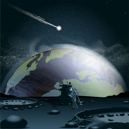 glowing earth: Big planet earth seen from the moon in 3d, over a background full of glowing stars and a falling asteroid or comet. Digital vector image