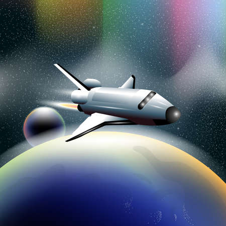orbiting: Shuttle in space flying from planet earth, orbiting a blue planet. Digital vector image.