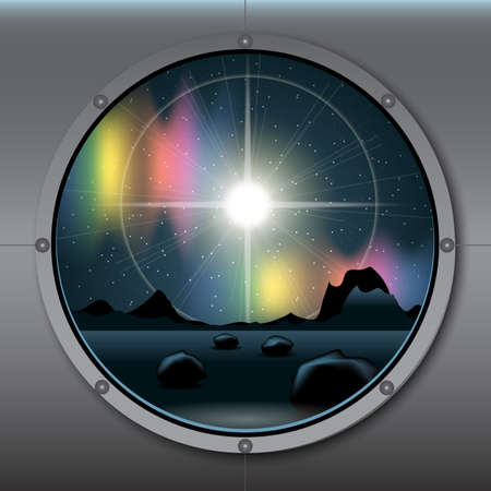 View from rocket or ship porthole on a planet in space over a background with glowing stars. Digital vector image Illustration