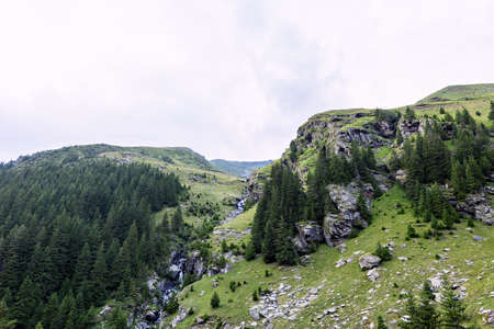 fagaras: Photo of green capra peak, a small river in fagaras mountains, Romania. Stock Photo