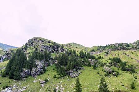 capra: Photo of green capra peak, a small river and a road in fagaras mountains, Romania.