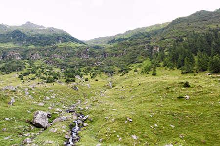 Photo of green capra peak, a small river in fagaras mountains, Romania. Stock Photo