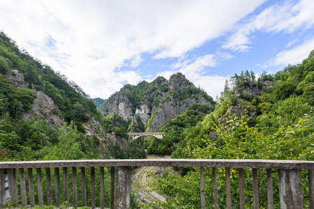 fagaras: Photo of bridge and peaks in fagaras mountains, Romania.
