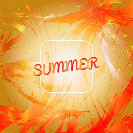 orange splash: Abstract summer card design with white frame over orange splash painted background. Digital vector image
