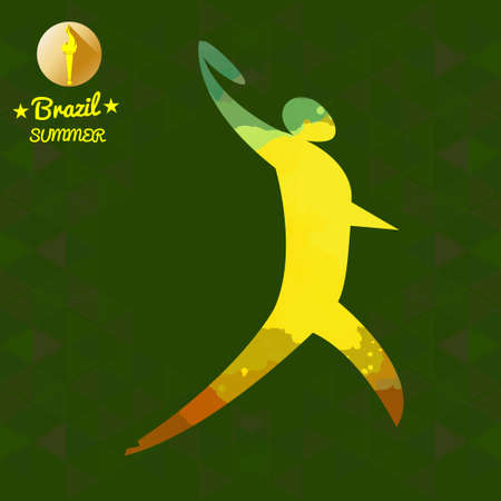 discus: Brazil summer sport card with an yellow abstract discus thrower. Digital vector image Illustration