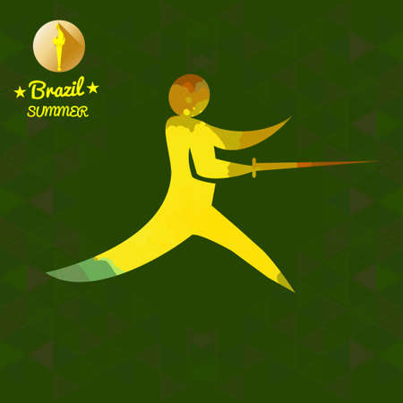 Brazil summer sport card with an yellow abstract fencer. Digital vector image Illustration
