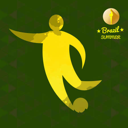 character abstract: Brazil summer soccer sport card with an yellow abstract character hitting a ball. Digital vector image