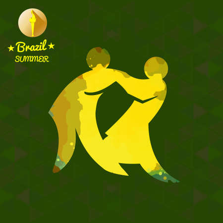 wrestle: Brazil summer sport card with two abstract yellow wrestlers. Digital vector image