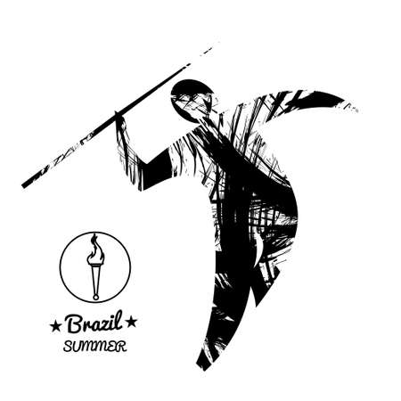 Hurl: Brazil summer sport card with an abstract spear thrower, in black outlines. Digital vector image Illustration