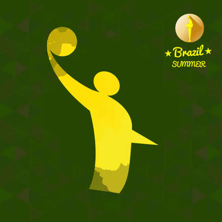 indoor court: Brazil summer sport card with an yellow abstract volley player. Digital vector image