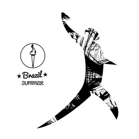 discus: Brazil summer sport card with an abstract discus thrower, in black outlines. Digital vector image
