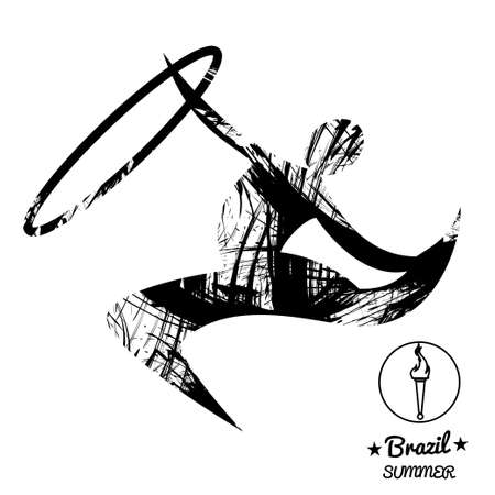 Brazil summer sport card with an abstract rhythmic hoop gymnastics player, in black outlines. Digital vector image