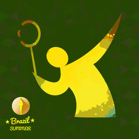 janeiro: Brazil summer sport card with an yellow abstract tennis player. Digital vector image Illustration