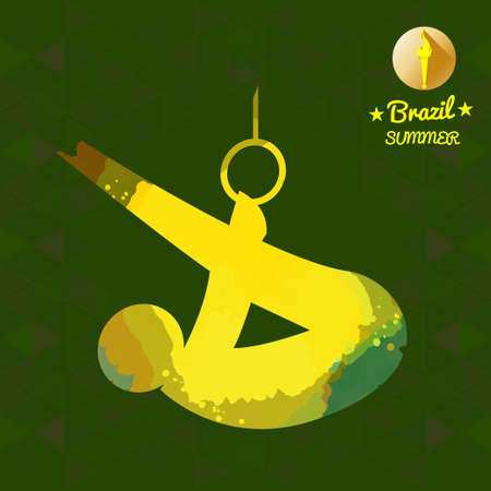 boy gymnast: Brazil summer sport card with an yellow abstract sportsman performing gymnastics on rings. Digital vector image