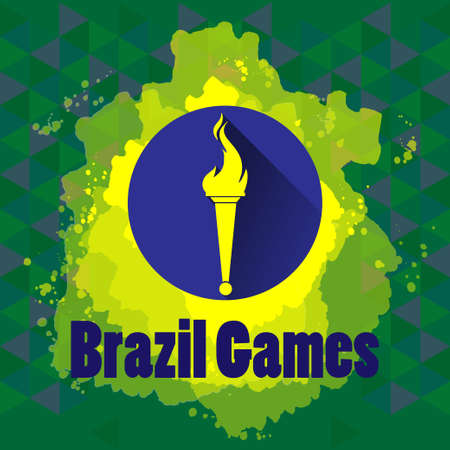 flame logo: Abstract Brazil games design with burning flame logo on blue circle. Digital vector image Illustration