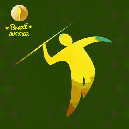hurl: Brazil summer sport card with an yellow abstract spear thrower. Digital vector image
