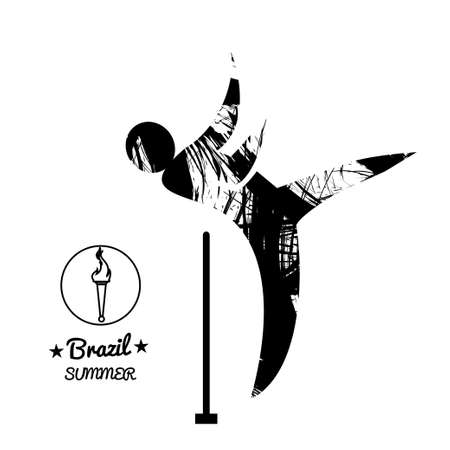 shot put: Brazil summer sport card with an abstract hammer thrower, in black outlines. Digital vector image Illustration