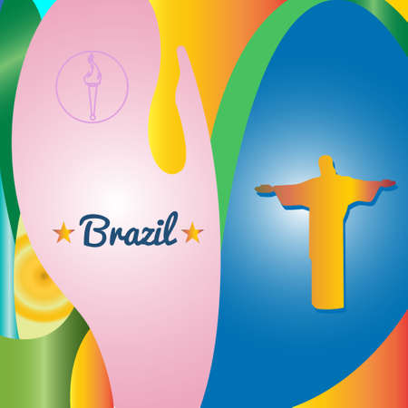 redeemer: Abstract Brazil and statue design over colored background. Digital vector image Illustration