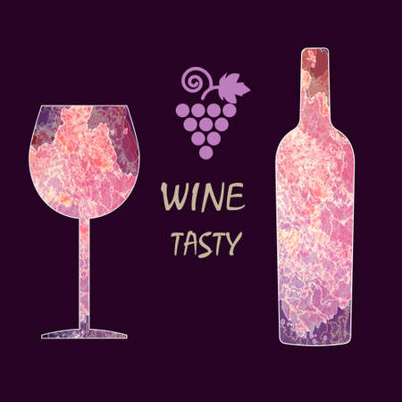 burgundy background: Wine tasting card, with colored bottle, a grape and a glass over a dark burgundy background. Illustration