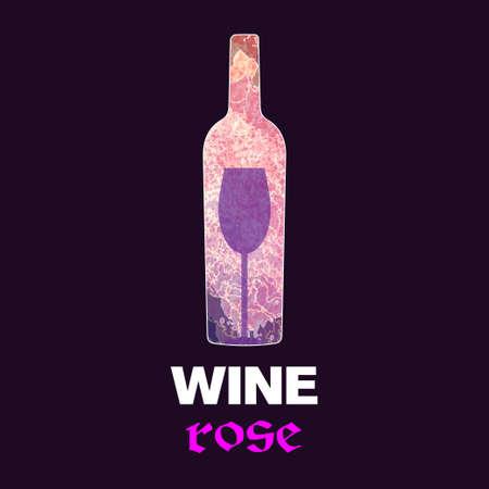 Rose vin carte de dégustation, avec une bouteille de couleur et un verre sur un fond bordeaux.