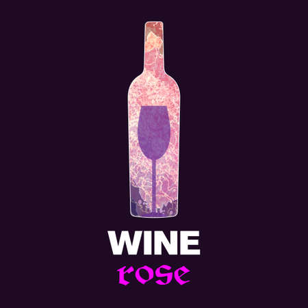 tasting: Rose wine tasting card, with colored bottle and a glass over a burgundy background. Illustration