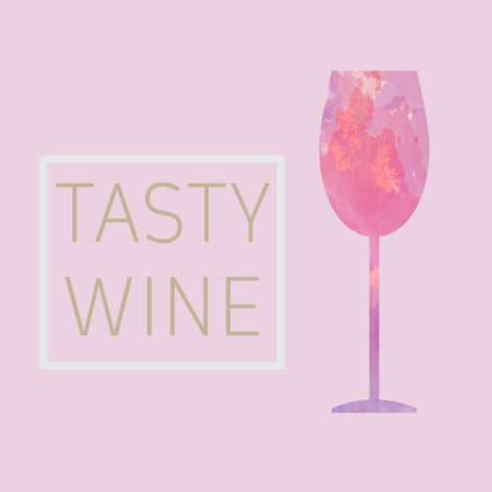 Wine tasting card, with a glass over a pink background.