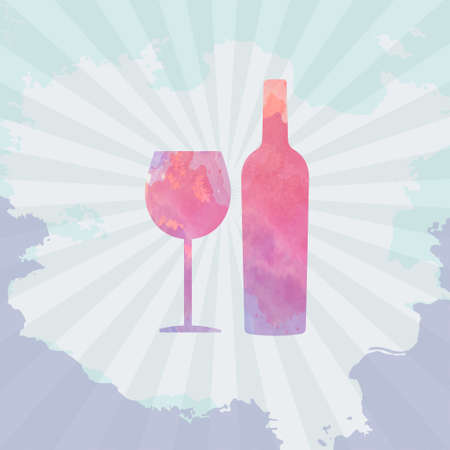 tasting: Wine tasting card, with colored bottle and a glass over a light splash painted background.